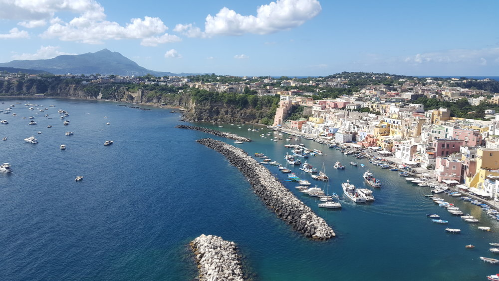 The view of Marina Corricella on the walk up to our apartment.