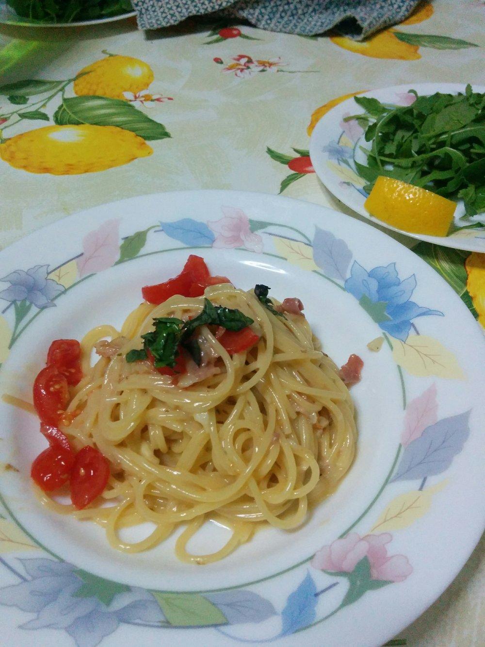 Nick perfected his Pasta Carbonara recipe.