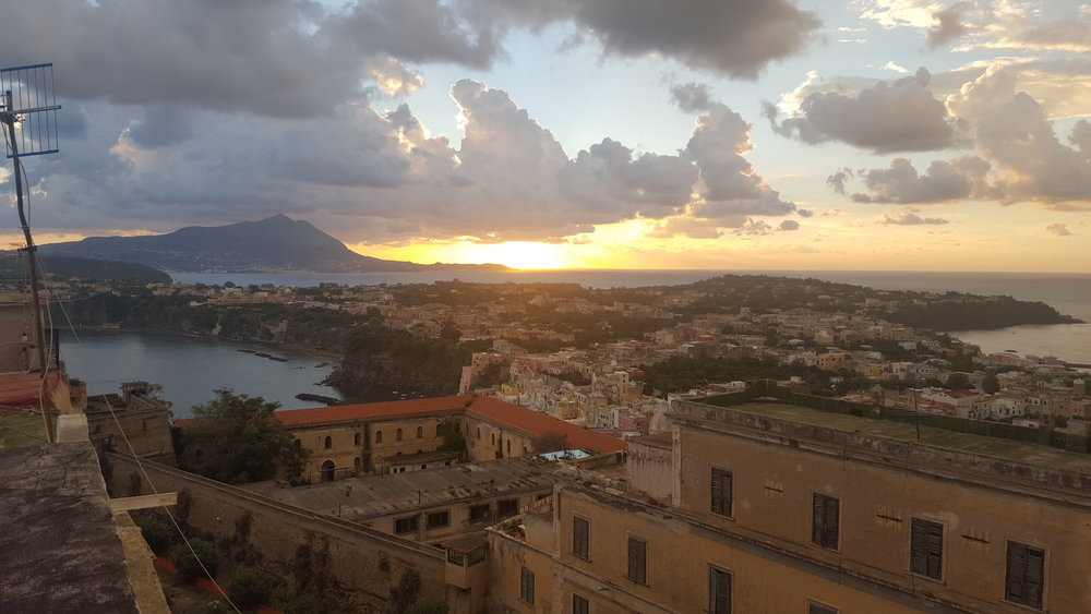 View from our deck.In the forefront you can see the old Procida Jail (it was a castle until being converted in 1815) which is no longer in use but has housed anti-fascists, fascists, and big-time mafiosos.