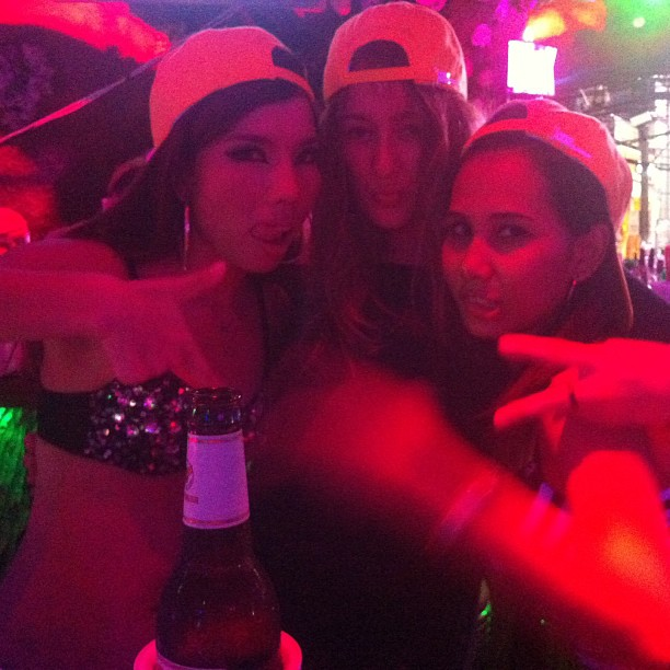 """Hanging out at Tiger bar in Thailand. With some well… """"Working girls"""". And the pole they did!"""