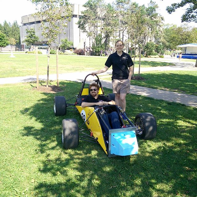 We're out showing off the car on the Studley Quad! If you can't make it out but are still interested in asking questions, we're having an information session at 10am in the Sexton Design Commons this Saturday. #fsae #dal_IDEA #dal #dalhousie #daleng #engineering #formula #racecar #oweek #halifax