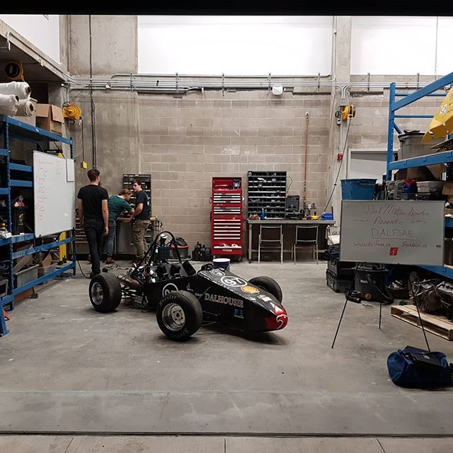 Today's the big day! We moved out of our old shop and into our brand new space in the @dalhousie_university Ideas building. It's a huge boost to the team and will help us push further in competition. Time to put it to good use!  #racecar #dalhousie #honda #sae #engineering