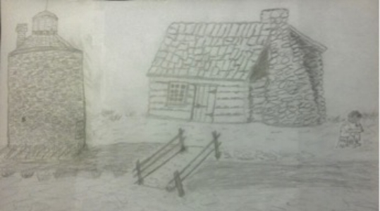 Drawing of George Pointer's cabin on the C&O Canal