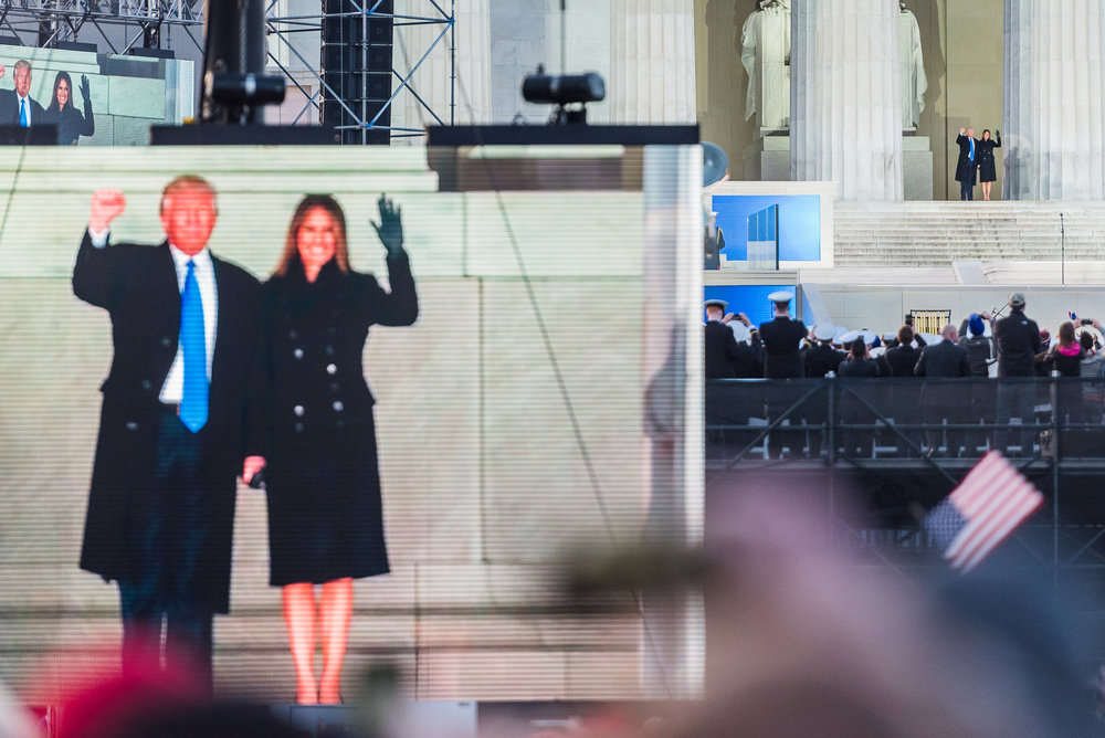 President-elect Donald J. Trump and his wife Melania Trump greet the crowd at the Make America Great Again Welcome Celebration, Thursday, January 19, 2017.