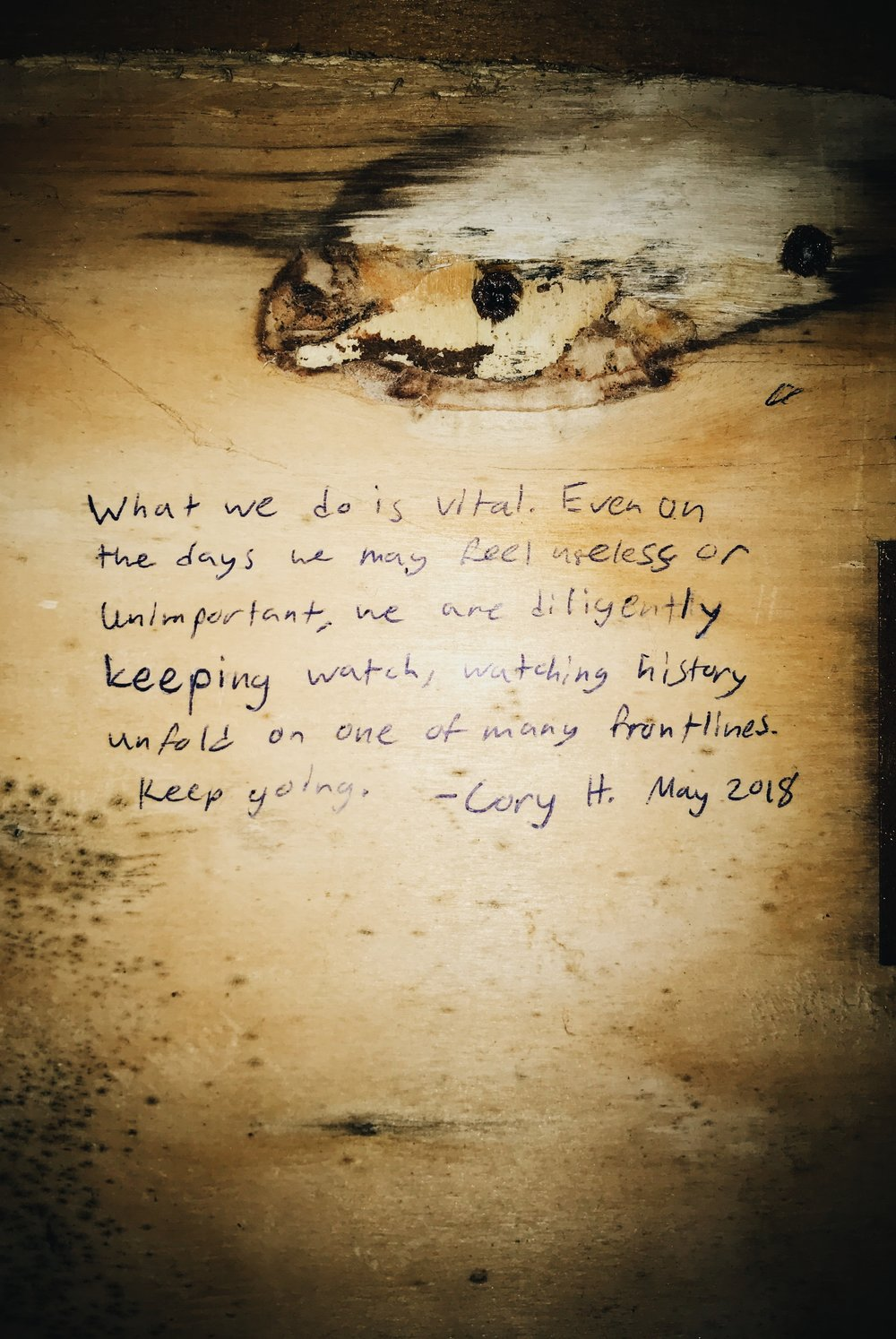 The quote I left on the wall of the Korakas spotting hut