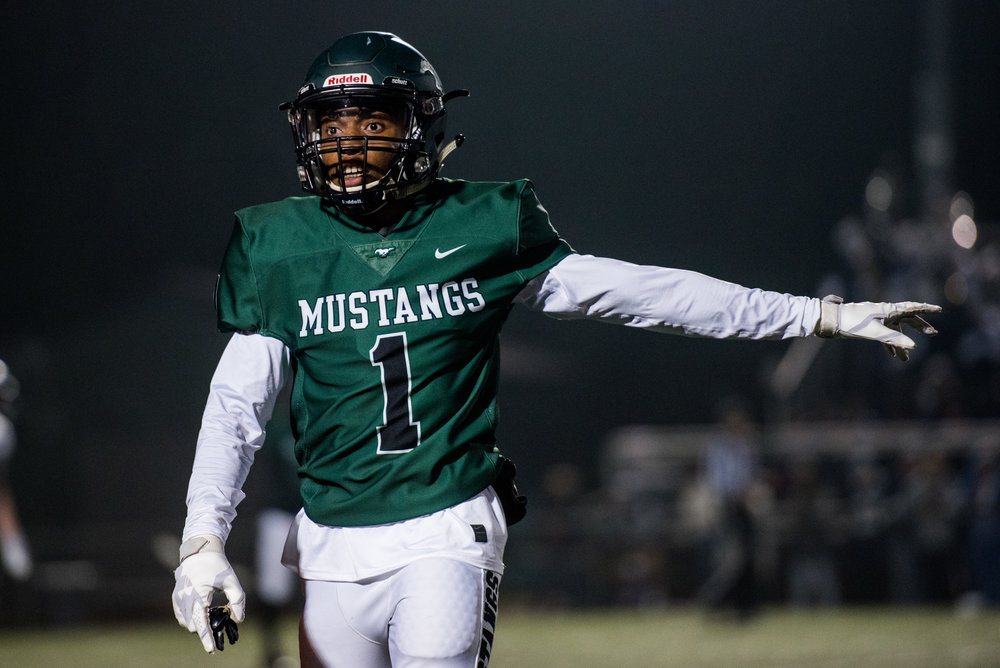 Terrence Chisley gestures to the sideline during Friday's matchup against North Paulding High School in Kennesaw, Ga., Friday, Oct. 26, 2018. The Mustangs fell to the Wolfpack 41-21. (Photo by Cory Hancock)