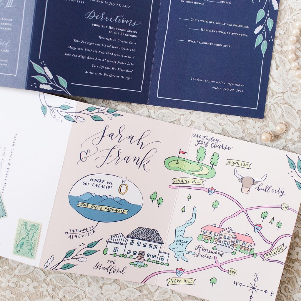 Custom Wedding Maps Happy Tines