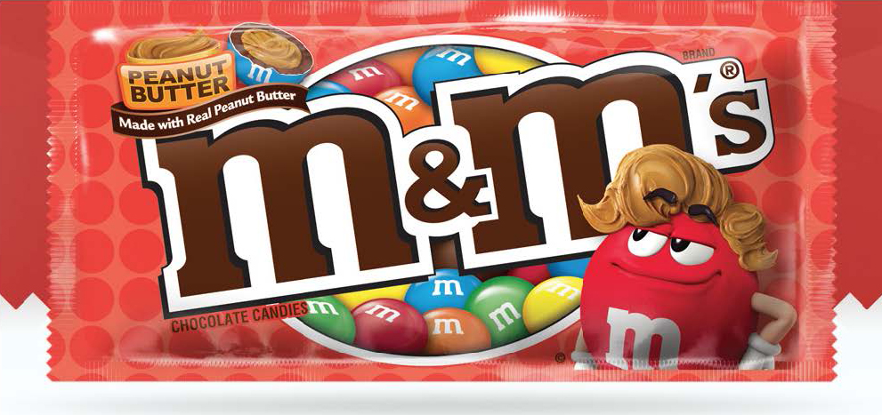 Red's tasty new look replaced Ms Green on Peanut Butter M&M'S packages.