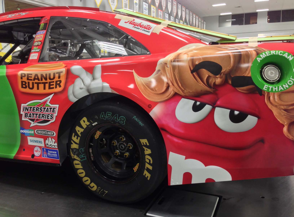 "Our ""peanut butter pompadour"" made its way to the NASCAR paint scheme."