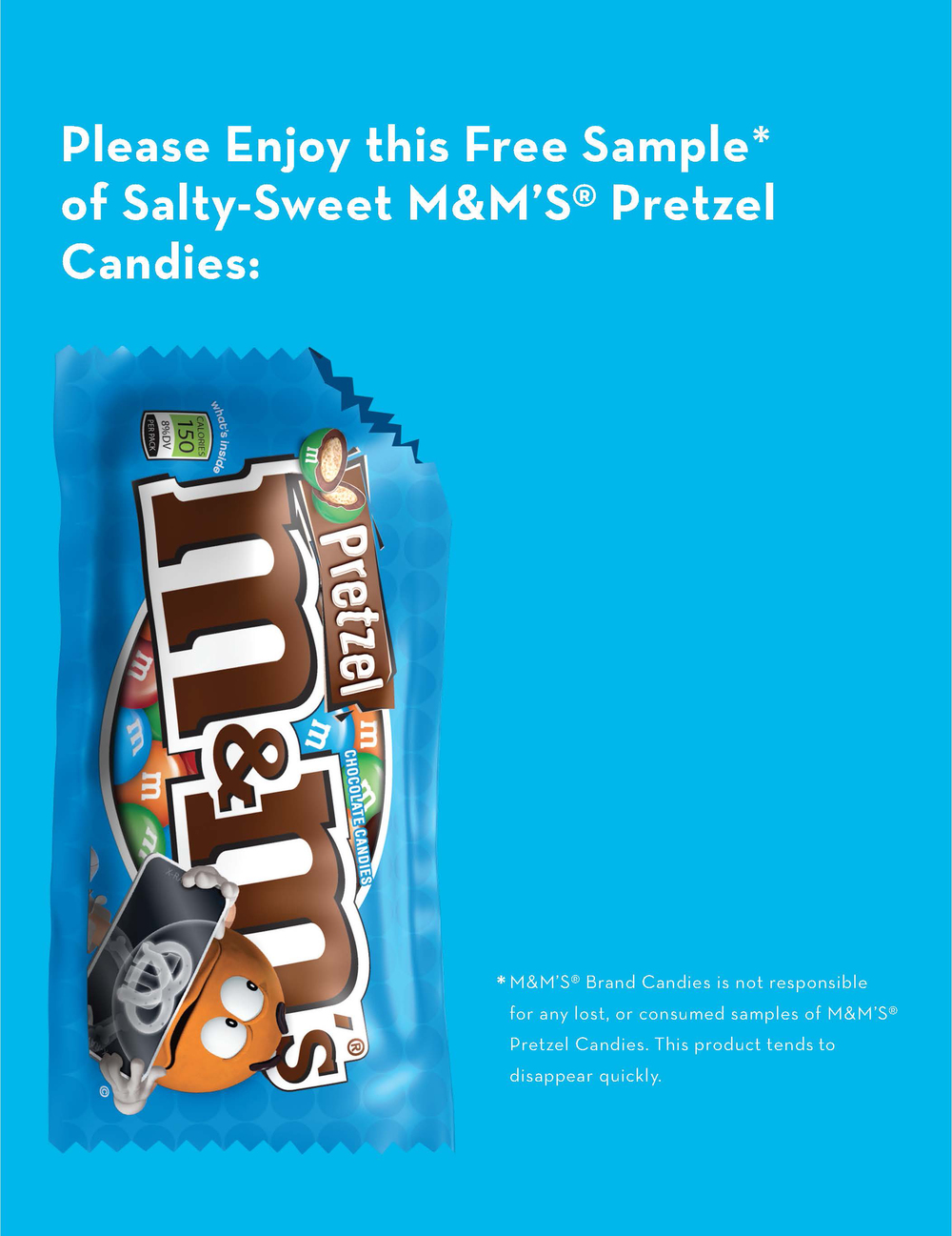 An M&M's Pretzel bag, emptied of its contents, was attached to the ad.
