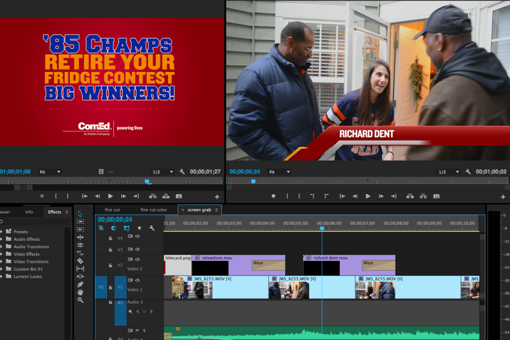 Comed & Paco Communications: Chicago Bears home visit.  Two Day Turnaround. Edit: Adobe Premiere