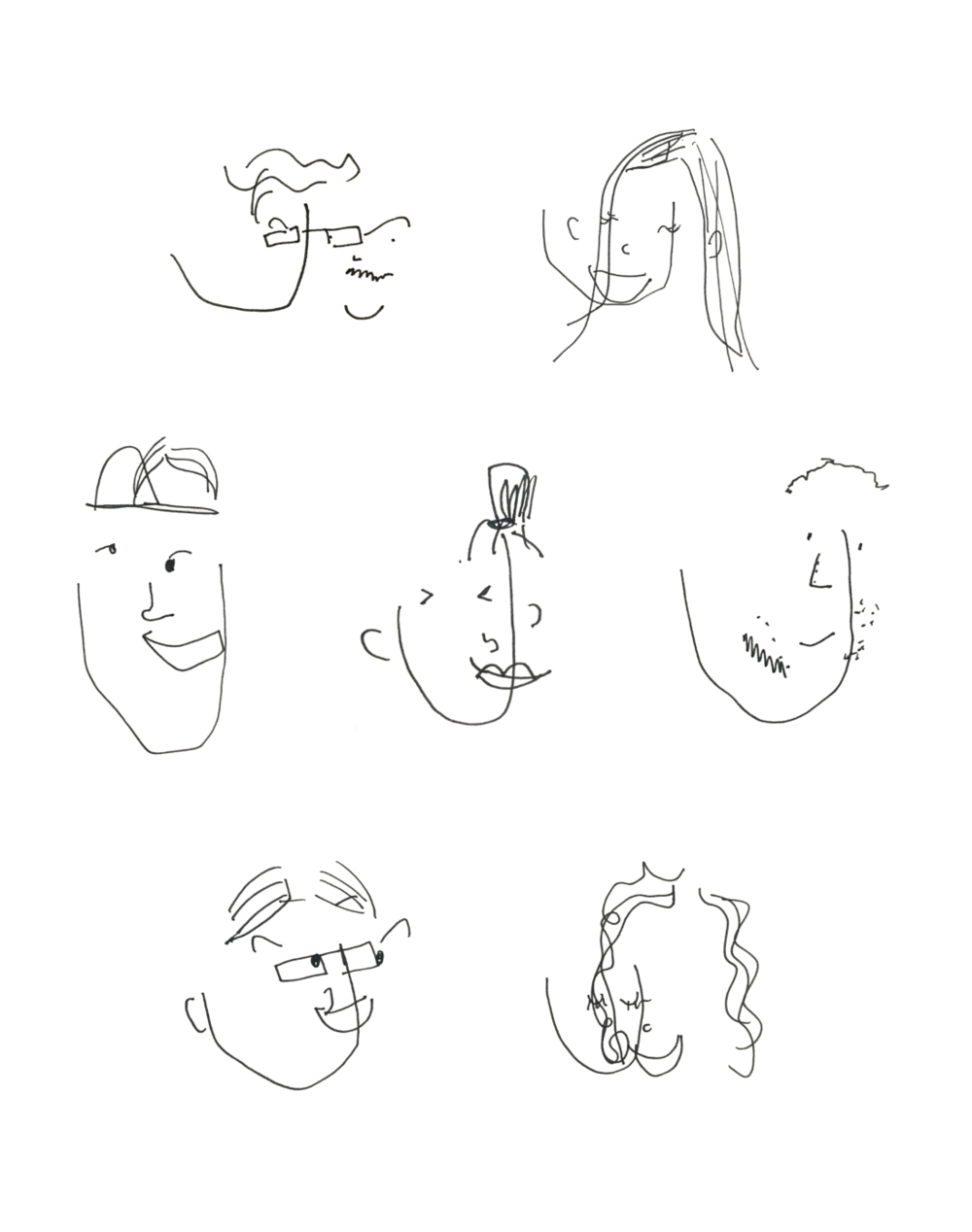 A drawing of my friends with my eyes closed.