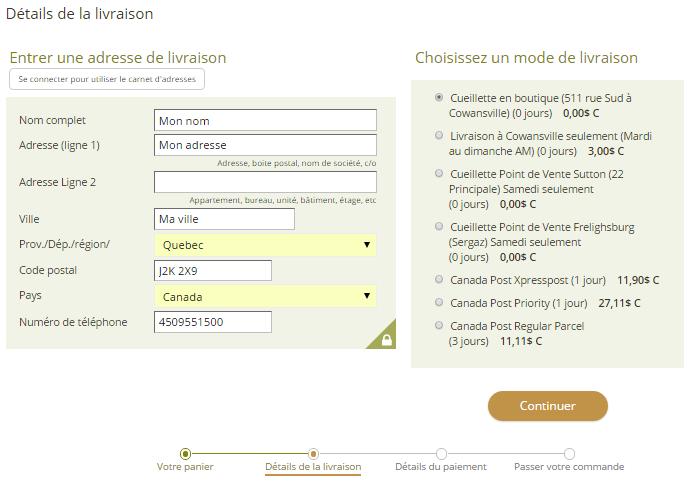 5. Indiquer les détails pour la livraison en commençant par indiquer votre adresse