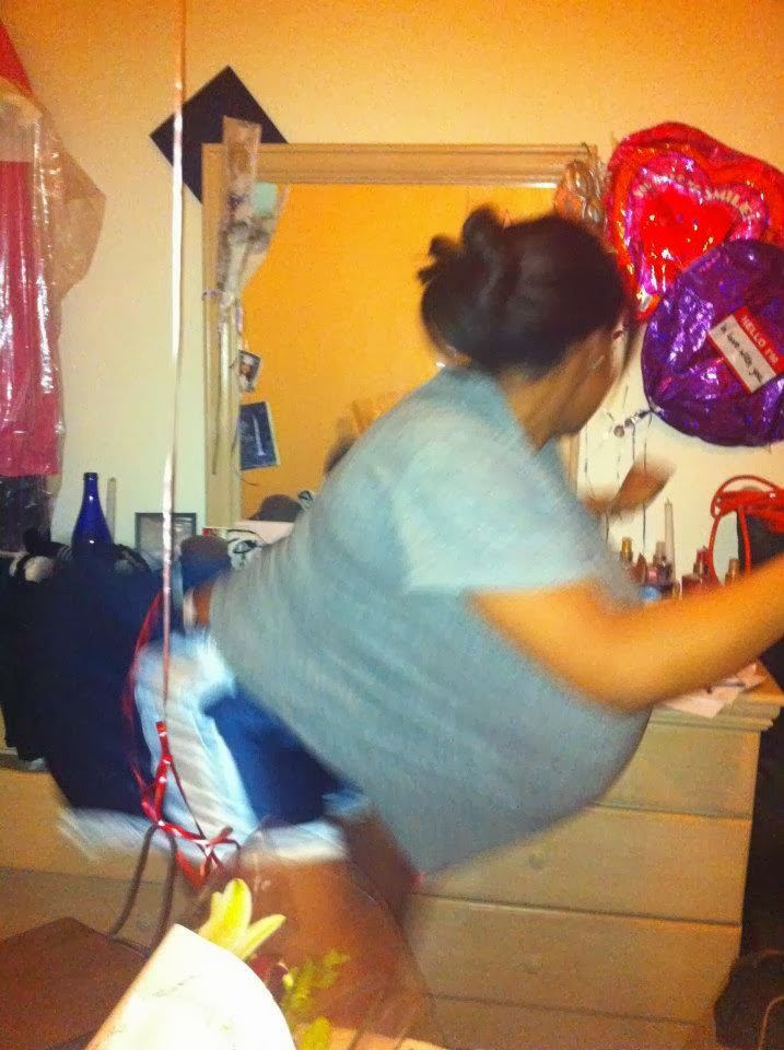 Right: Valentine's Day 2011; Left: Me. With balloons in my shirt & shorts. Because I'm ridiculous.