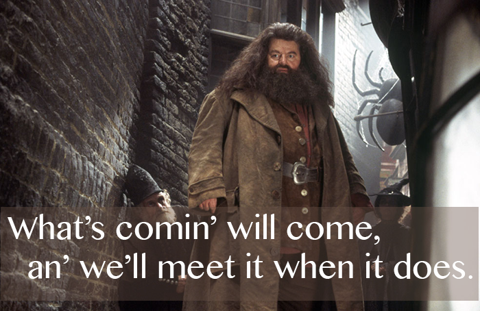 "MuggleNet; ""No good sittin' worryin' abou' it... What's comin' will come, an' we'll meet it when it does."" Rubeus Hagrid (Harry Potter and the Goblet of Fire)"