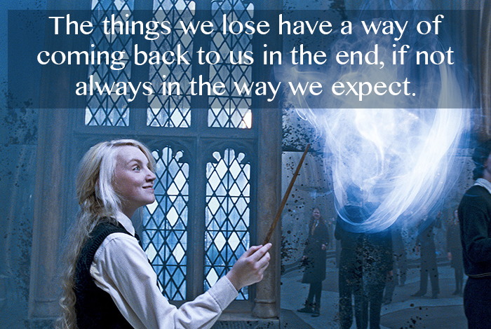 "Harry Potter Wiki; ""The things we lose have a way of coming back to us in the end, if not always in the way we expect."" - Luna Lovegood (Harry Potter and the Order of the Phoenix)"