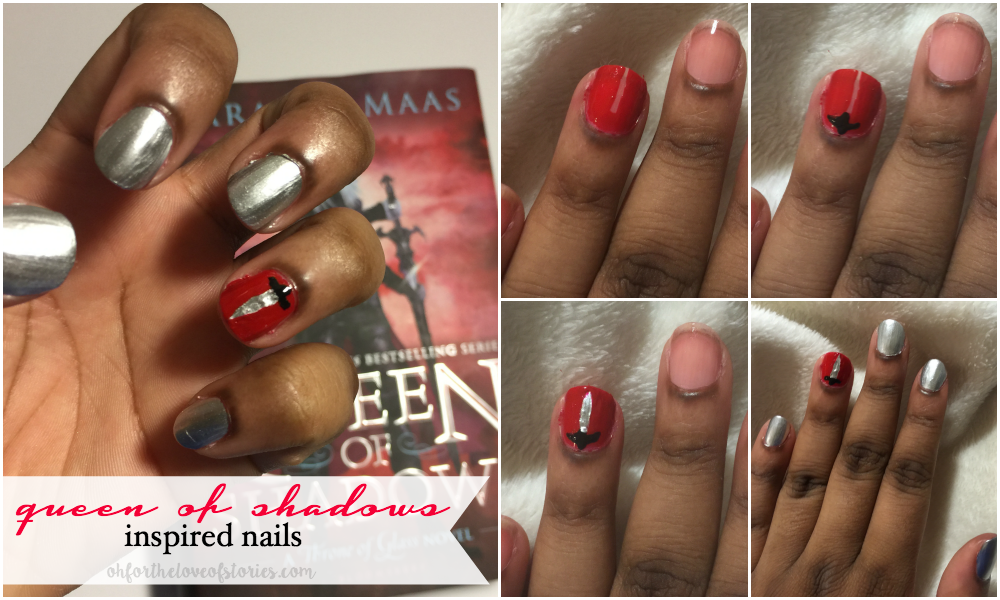 Steps: (1) Paint the accent nail red, leaving a small strip in the center; (2) Create the hilt in a small cross in black polish; (3) Draw in the sword with silver polish and use pointed q-tip with red paint to create the perfect shape; (4) Paint other nails with silver polish.