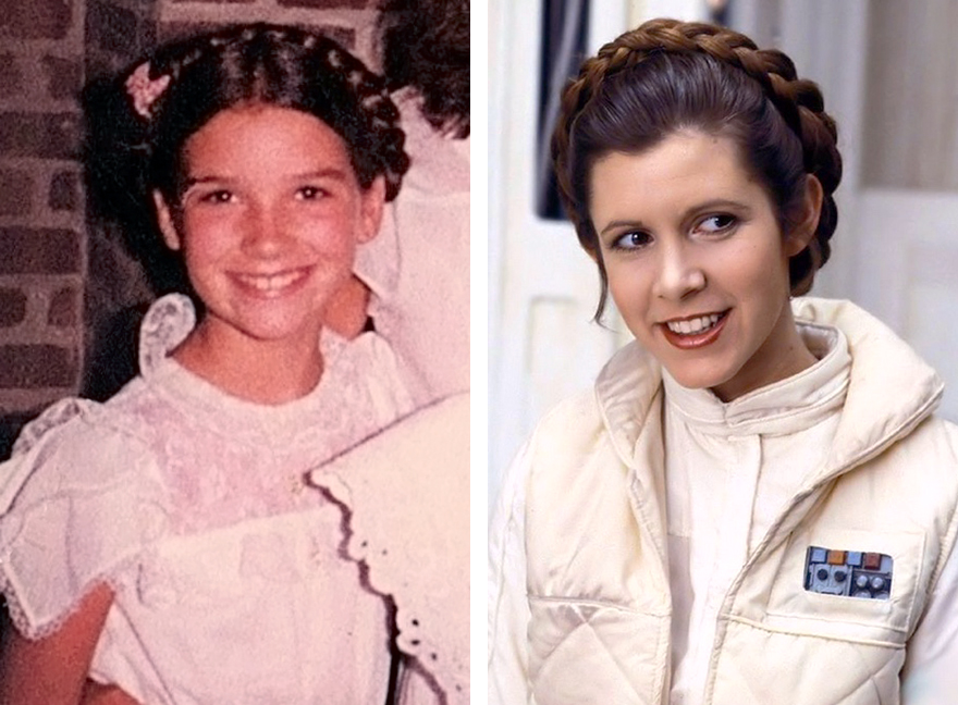 Sporting the Princess Leia braids at age 10 and Leia in Empire Strike Back, Planet Hoth