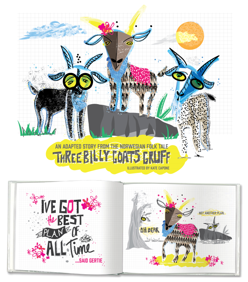 Most recent art created for Lilla Roger's Make Art that Sells course. Assignment was to illustrate the Three Billy Goats Gruff in our own style.