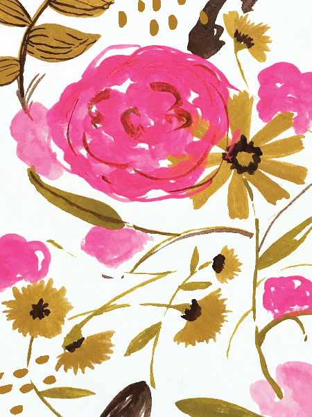 marigiolds and roses, goauce on paper