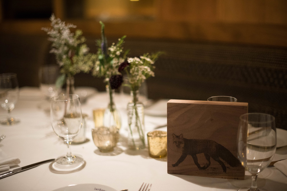 Instead of table numbers, guest sat at table animals. These were handmade by a close friend of T&G's.
