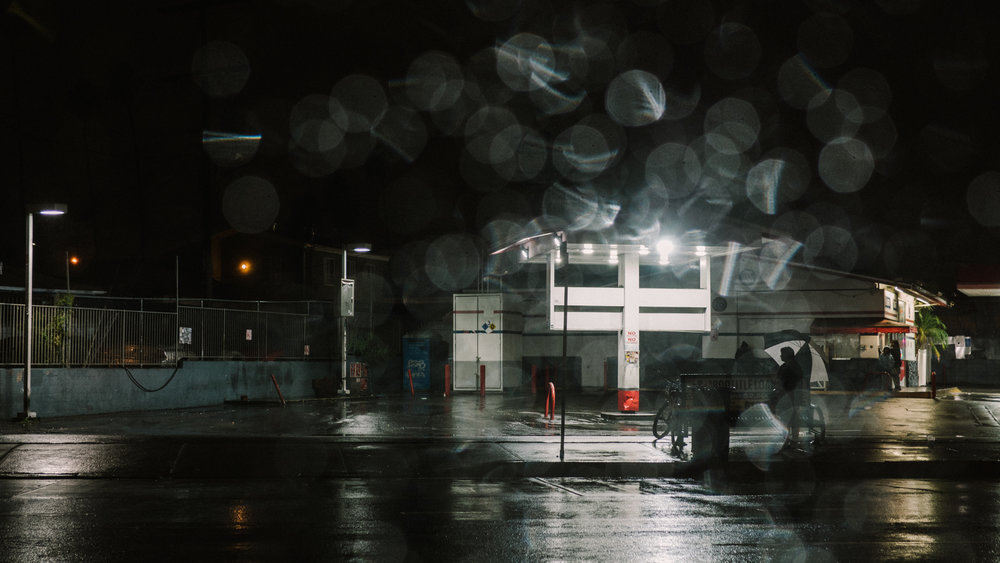 Rainy Day Gas Station