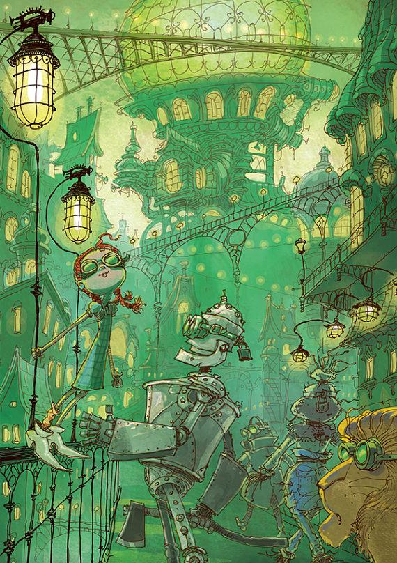 emerald city, original illustration by yanivshimony on etsy