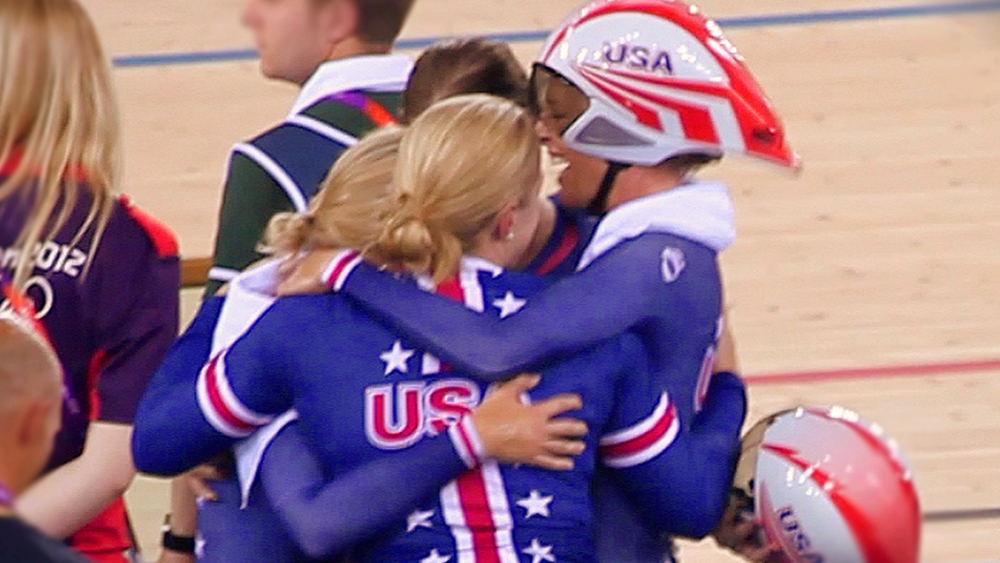 Moments after historic win of the first U.S. Women's Track Cycling Medal in 20 years. Click for full resolution.