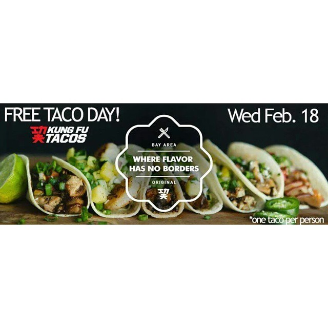 Tag all your friends!  FREE TACO DAY 2015 at Kung Fu Tacos!  Wed Feb. 18.  Come in and try our new Thai Chicken Taco for FREE! Limit 1 taco per customer. 59A Serramonte Center (outside next to #Starbucks #buffalowildwings ) #freetacos #freefood #kungfutacos #newitem