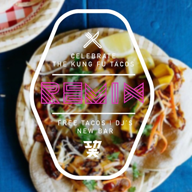 The REMIXED Kung Fu Tacos Launches TONIGHT from 6p-10p with FREE TACOS and the DJs #CelebrateTheRemix RSVP for FREE tacos: http://bitly.com/1uLGBFF