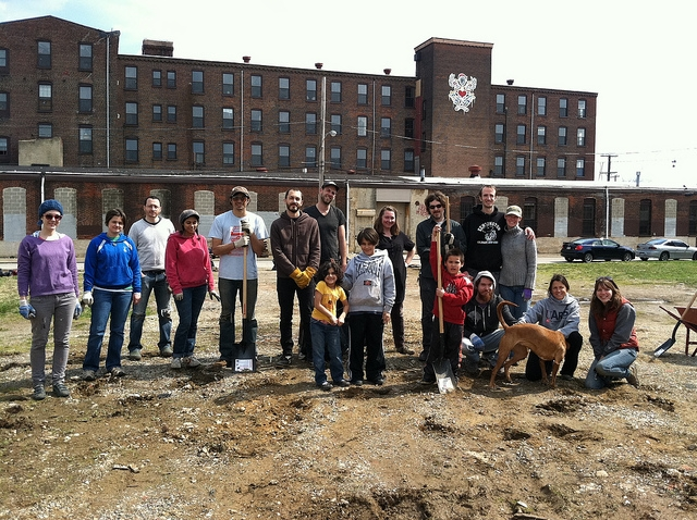 This photo was taken in the summer of 2011.  These are all the wonderful volunteers who helped clean the lot.  Since then, not much has happened.  Our goal in 2012 is to keep the project going.  Right now, we are exploring our funding options, but will get started in April 2012.