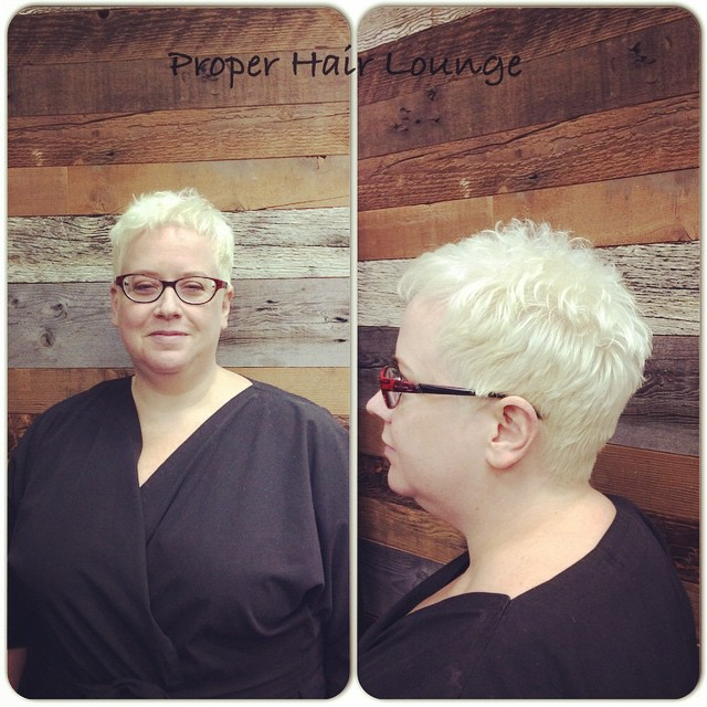 New style for Cynthia, bleach out by Melissa, cut and styled by Leonardo ReDavid #properhairlounge #bleachout #vancouverhair #redavid