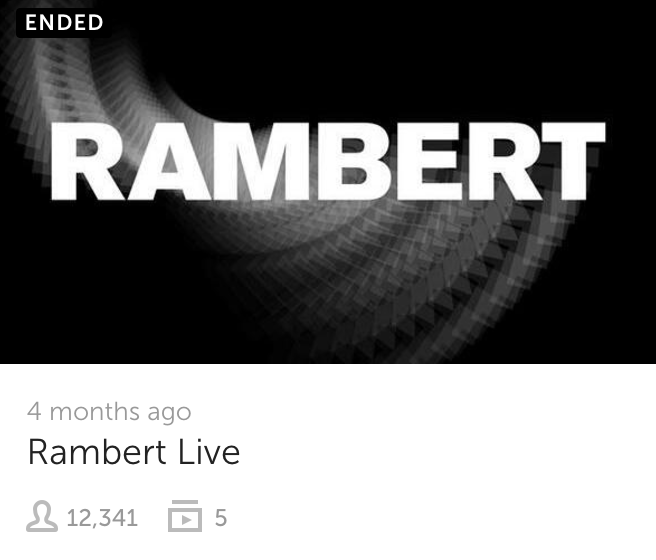 October 2016 - World class ballet team Rambert digitally open their doors for the day