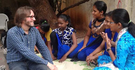 Interviewing a group of girls in Mumbai hearing how education has changed their lives