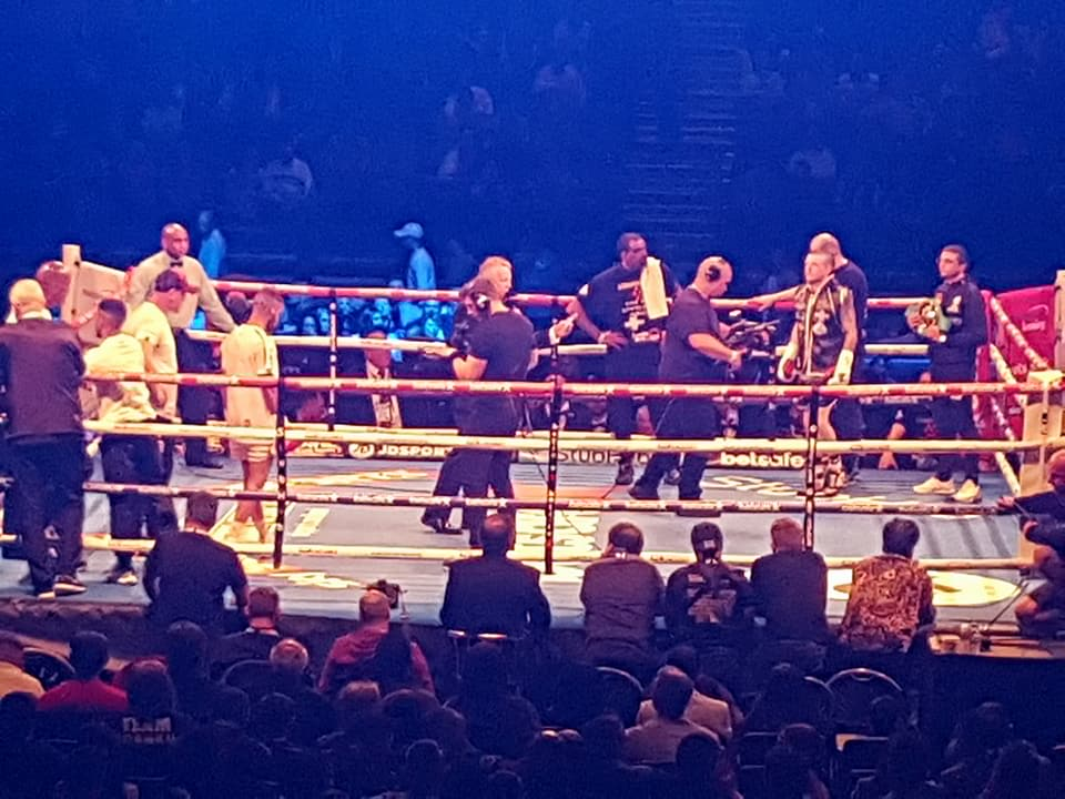 SCCF member Sean Davis at his bout in the Barclaycard Arena this weekend