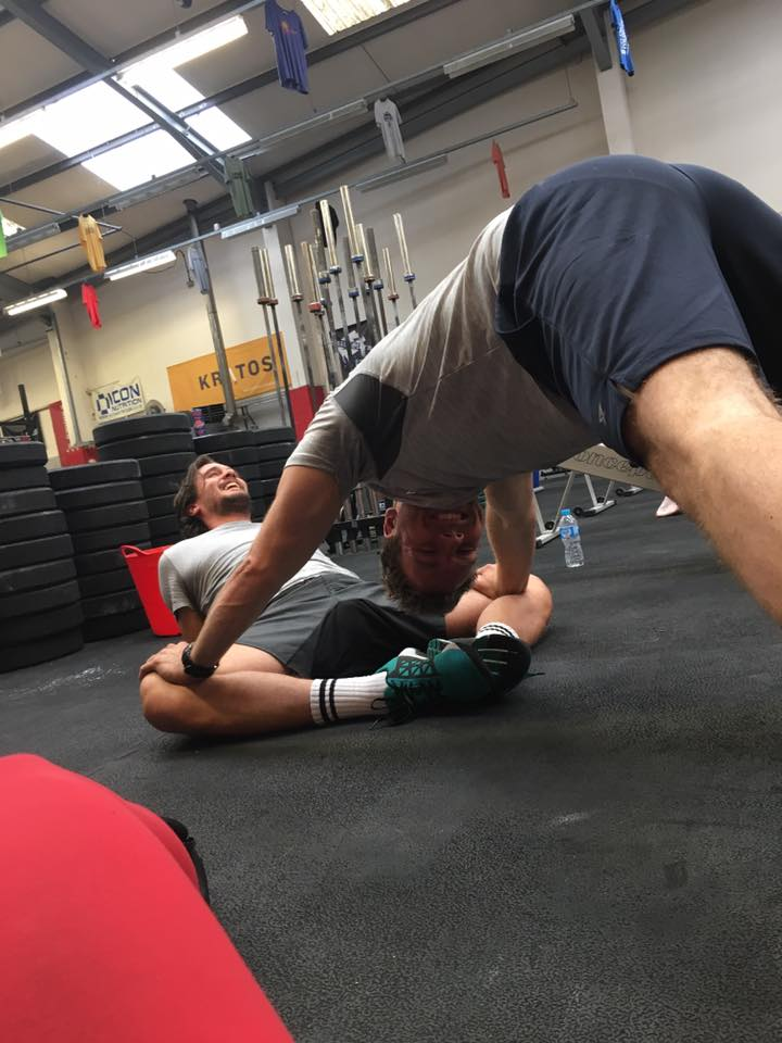 Members helping one another with mobility