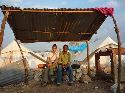 Jacqueline Fabius and Dominique Pierre, yesterday afternoon at the end of a day in the tent camp near the site. They spent hours meeting with families and small children aged 4 to 5, to begin the screening process.