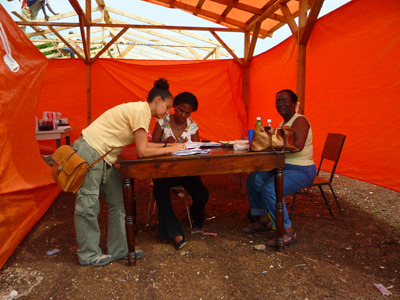 Jocelyne, Dominique and Jacqueline discuss and set up the various tasks for each one of them, and stations for the exams to take place.