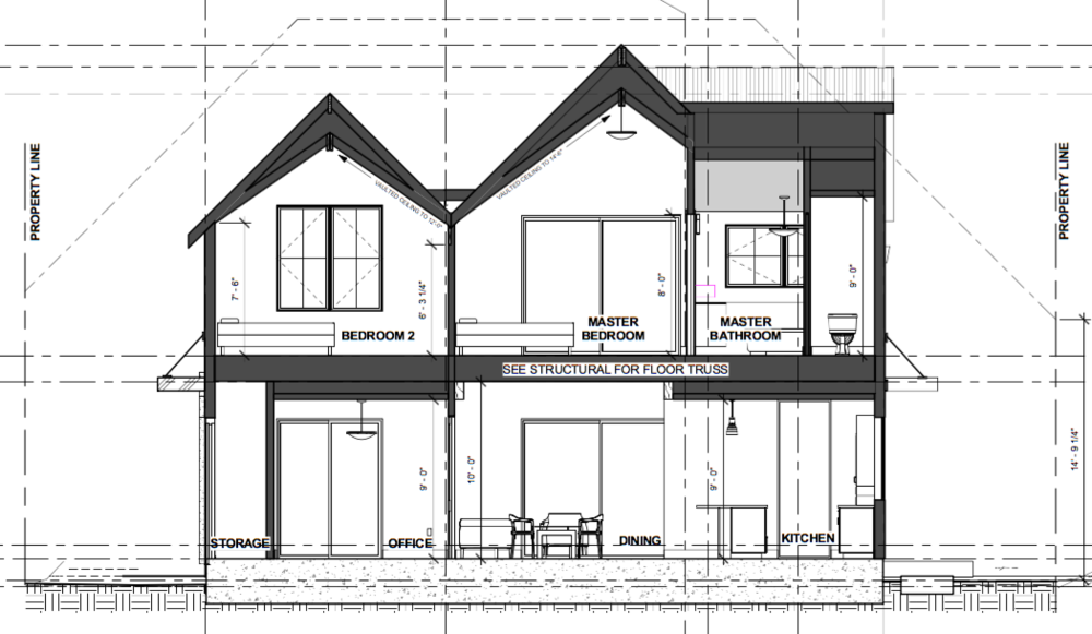 Front elevation - second half of house