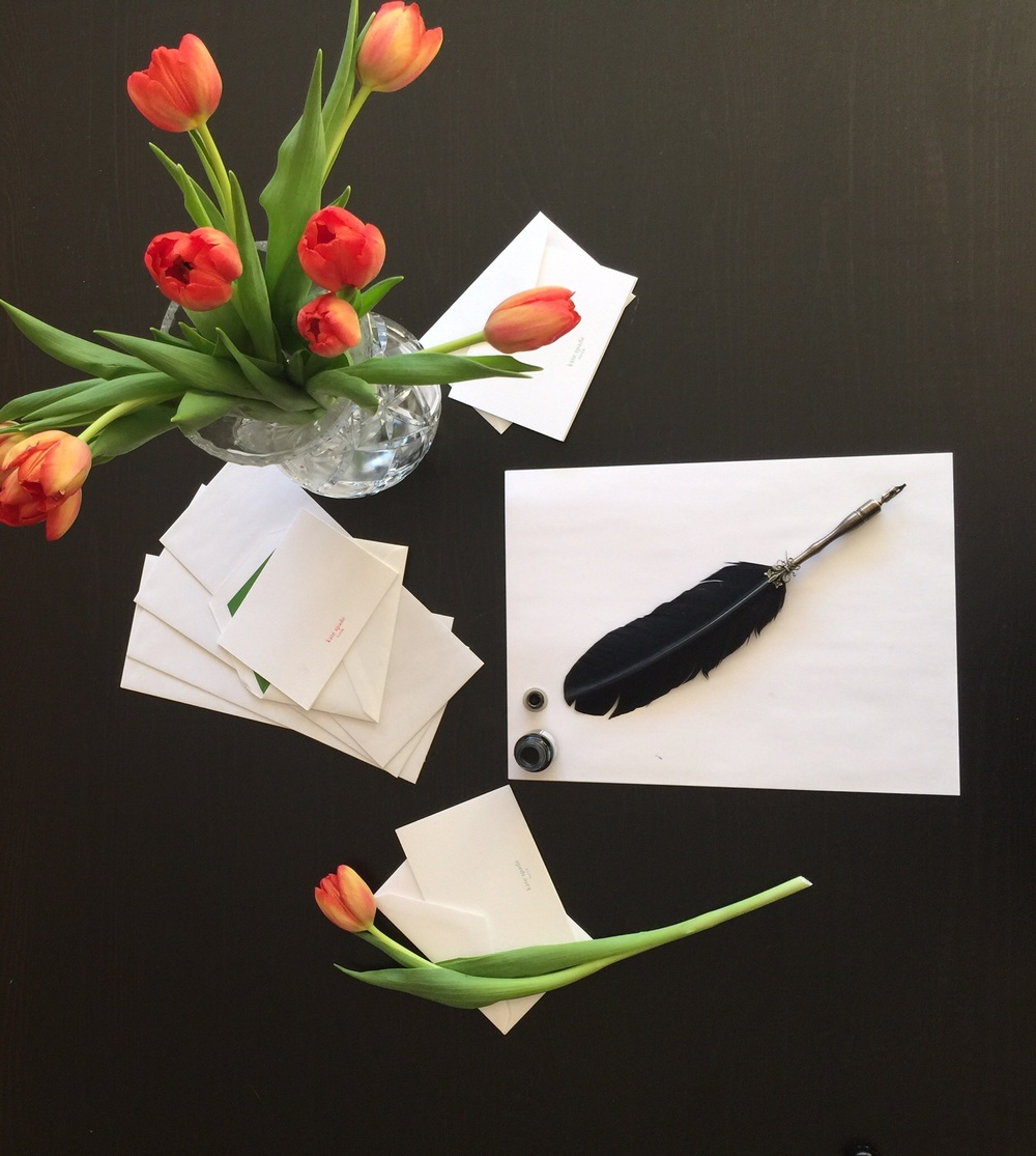 ...ready to write! The scene from my desk a few weeks ago, writing letters and cards to friends and family.