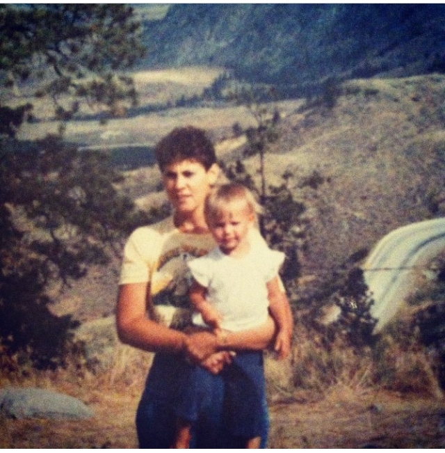 ...my mom and I circa 1987, posing roadsideon one of our many family camping road trips