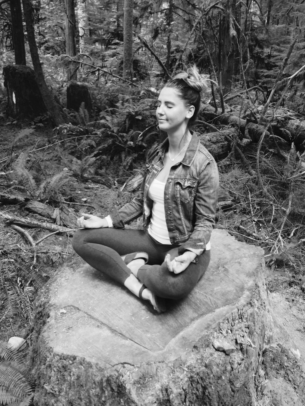 ...pit stop on a road trip to Tofino at Cathedral Grove! Meditating on a giant tree stump and soaking in all of the groundedness their deep roots provide!