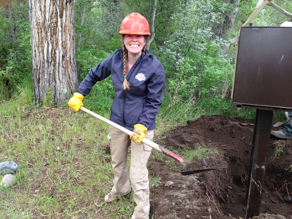 Keeping bears wild and people safe. GYC Wyoming Conservation Associate Jenny DeSarro helps install bear boxes in Wyoming's Shoshone National Forest in 2015. (Photo GYC.)