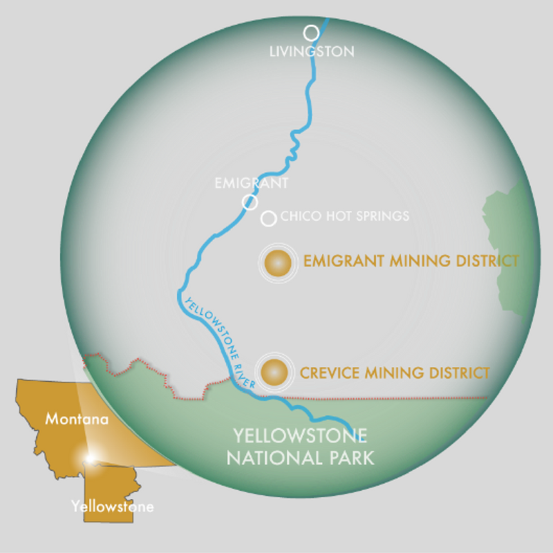 The Emigrant and Crevice proposed exploration sites, north of Yellowstone Park. (Graphic courtesy Yellowstone Gateway Business Coalition.)