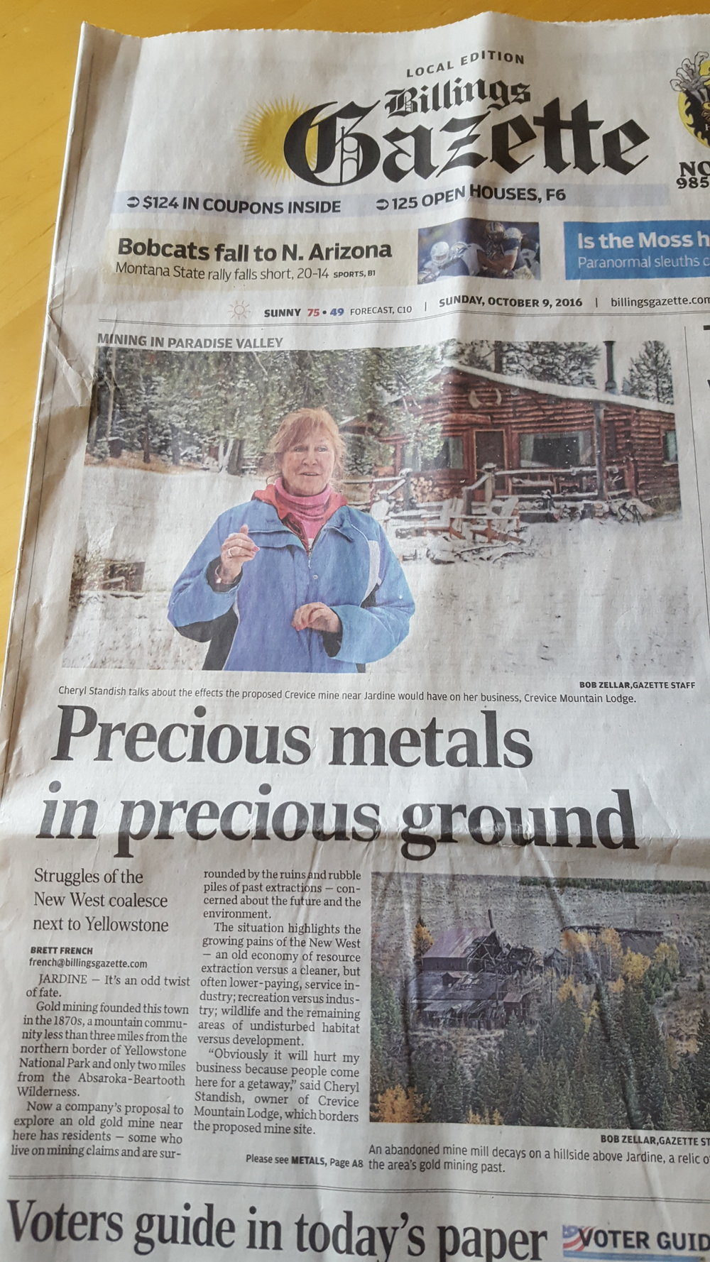 Sunday's Billings Gazette highlighted local concerns about gold exploration near Yellowstone's northern border. (Photo GYC.)