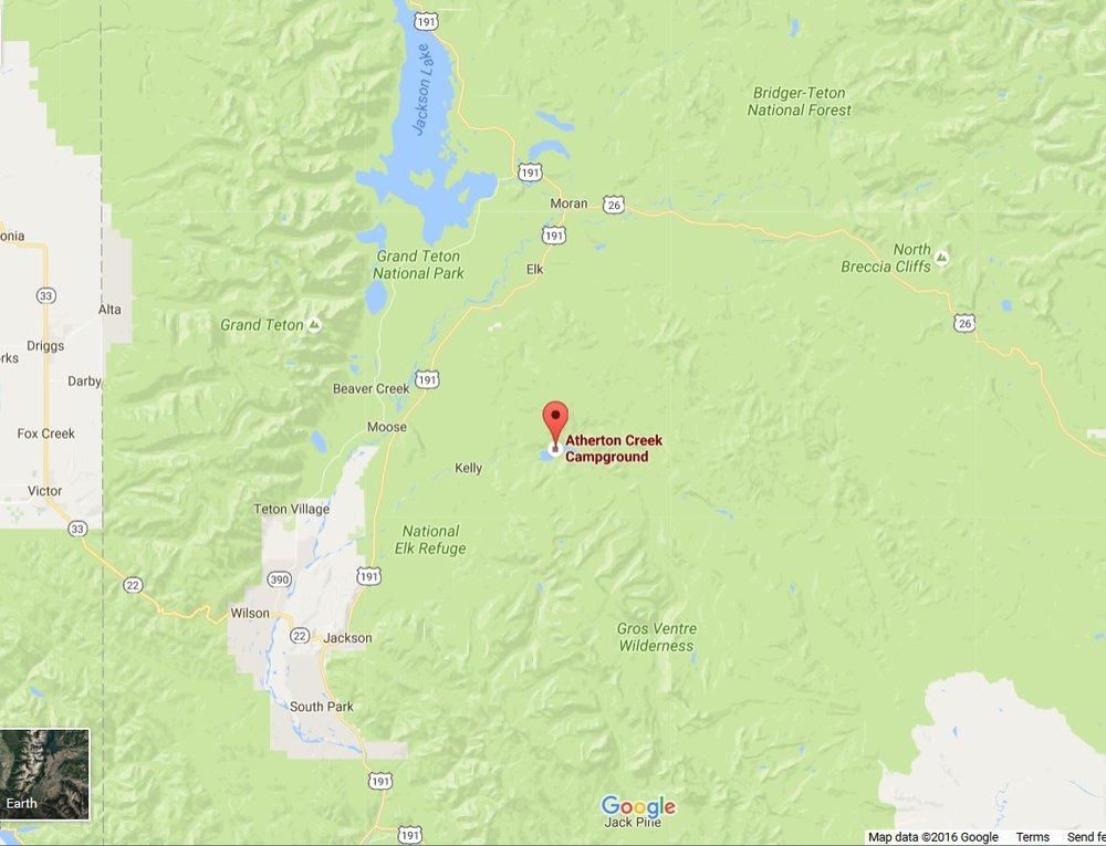 Grizzly bears are on the move between the Gros Ventre Wilderness and Grand Teton. Our work to bearproof Atherton Creek Campground is part of our mission to keep bears alive and people safe. (Google Map.)