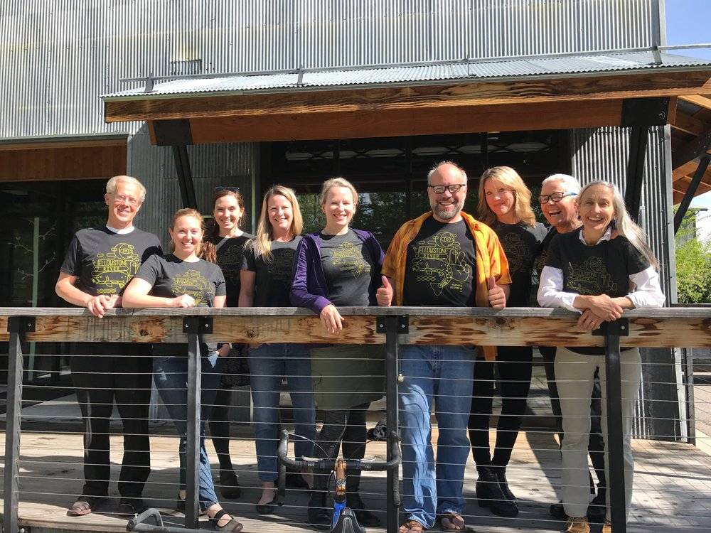 GYC staff rocking their Yellowstone shirts from Simms Fishing Products. Part of the proceeds go towards GYC's work to keep gold mines from the gates of Yellowstone. (Photo GYC.)