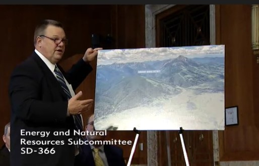 Sen. Jon Tester speaking about his bill to protect your public lands from gold mining at Emigrant Gulch (pictured) and Crevice Mountain, just north of Yellowstone National Park.
