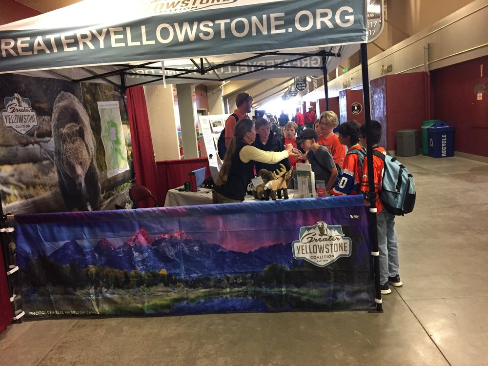 Wyoming Conservation Associate Jenny DeSarro educating students on GYC's work to protect the lands, wildlife, and water of the Greater Yellowstone Ecosystem at the Wyoming Outdoor Expo in Casper.