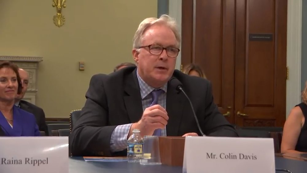 Colin Davis, the owner of Chico Hot Springs resort in Montana, testifies at today's hearing. Davis is a founding member of the Yellowstone Gateway Business Coalition, a group of 400+ business owners that oppose risky mines next to Yellowstone. (Photo GYC.)